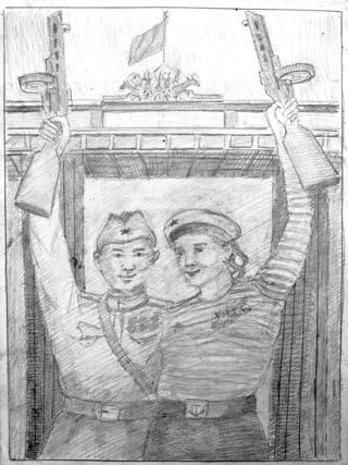 День победы, эскиз. Карандаш, бумага, А.Гусаров, 2009