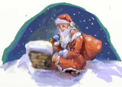 Дед Мороз за работой. Рисунок Йолли (Романова Света) 2011 г