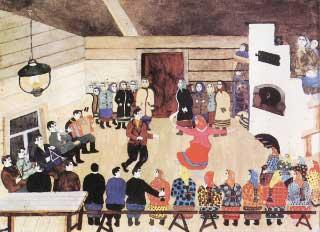 Деревенская вечеринка. И.М. Никифоров. 1960-у гг. г.Пушкино, Московская обл.