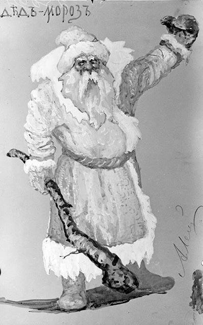 Эскиз костюма ДедМороза для музыкальной драмы Снегурочка Чайковского, 1901 год из фондов музея им. Глинки