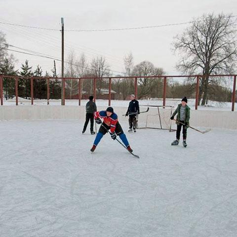 На хоккейной площадке. Фото Александра Федосеева
