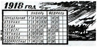 В 1918 году с введением в России григорианского календаря после 31 января наступило сразу 14 февраля