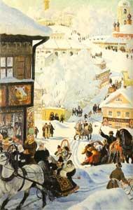 Б.М. Кустодиев. Масленица. 1919г. (фрагмент).