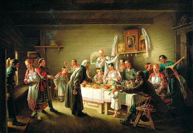 Н.П.Петров - «Смотрины невесты» 1861, холст, масло, 103 х 148. Русский музей.