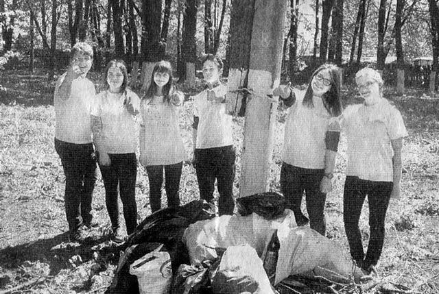 Благодаря волонтерскому отряду «Радуга добра» лесопарк стал чище. Май 2017