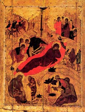 Рождество Христово. Андрей Рублев 1405 г. 81x62 см икона. Праздничный чин Благовещенский собор Московского Кремля