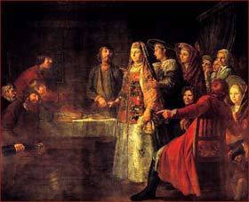 Шибанов Михаил. (?– не ранее 1789) Празднество свадебного договора 199 x 244 Холст, масло 1777. Третьяковская галерея
