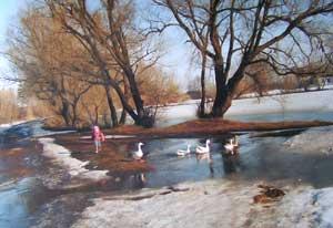 Настя Гранкова и гуси. Село Грязное. Фото К.Маркова, 1999 г.