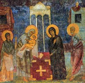 Сретение - фреска из Спасо-Преображенского собора Мирожского монастыря в Пскове. Около 1140 года.