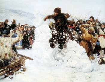Василий Иванович Суриков. Взятие снежного городка. (фрагмент).