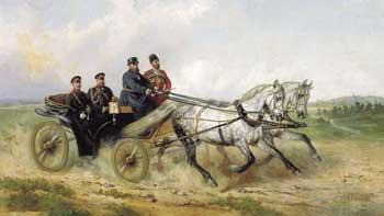Н. Сверчков. Царь Александр III в открытом ландо. 1888 г.  С сайта http://history-life.ru