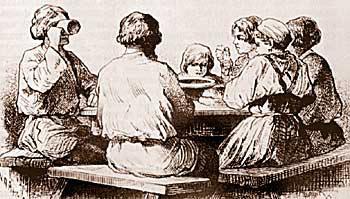 Русская трапеза(крестьяне за столом). Рисунок 2-й пол. ХIХ века