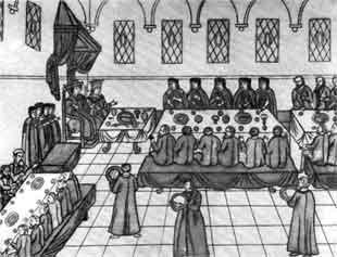 Миниатюра XVII века. Свадьба царя Михаила Федоровича в 1626 г. Грановитая палата.