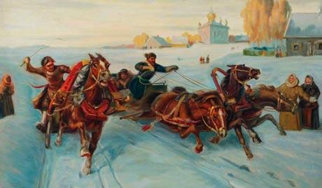 Художник Колесник Борис Афанасьевич фрагмент картины Тройка, 1970г.