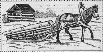 Конь, запряженный в сани. Фрагмент русского лубка