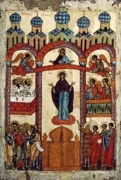 Покров Богоматери. Икона. XIV — XV вв. (Третьяковская галерея)