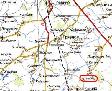 село Чурики на карте 2004 год. Масштаб 1:370 000